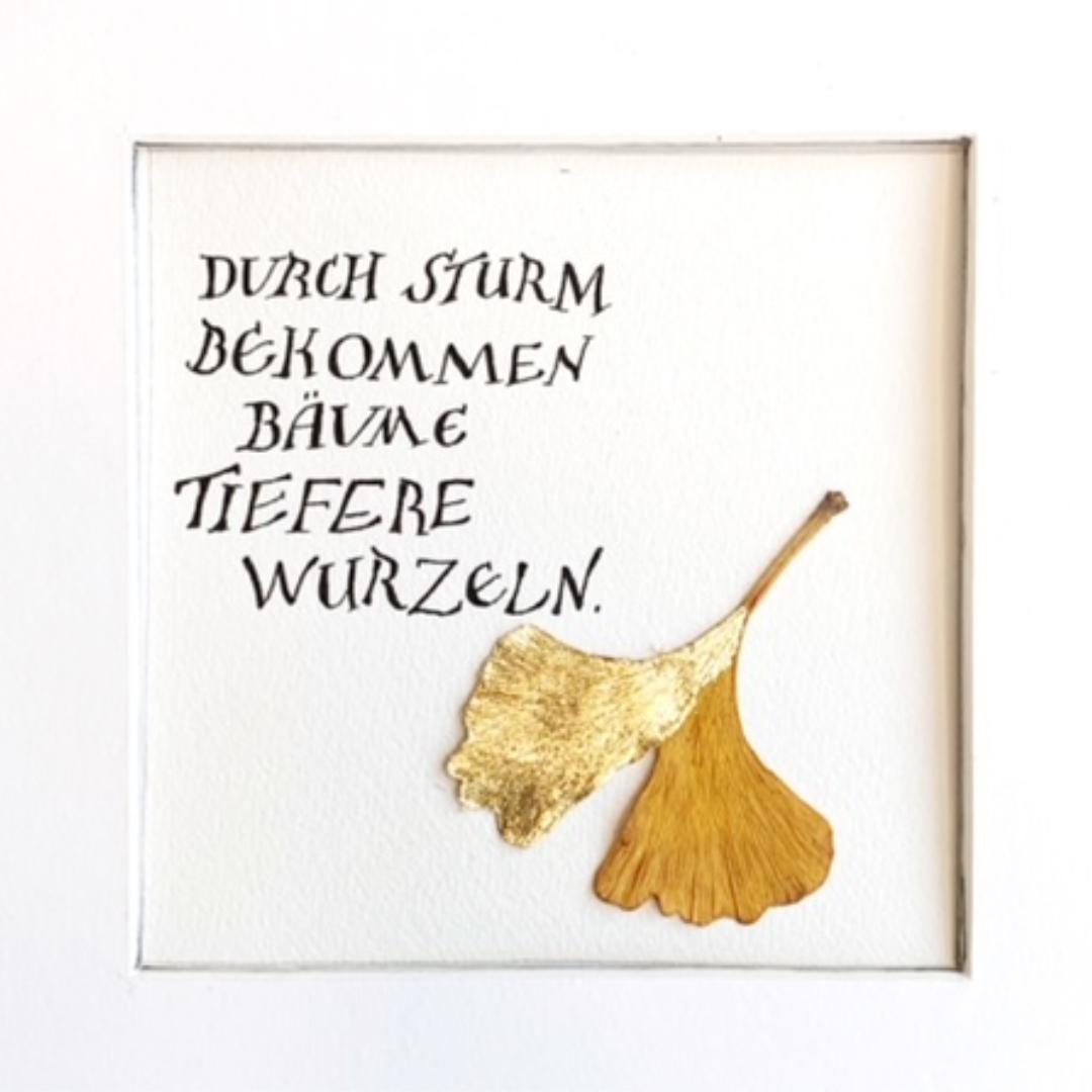 Kalligrafie mit Blattgold